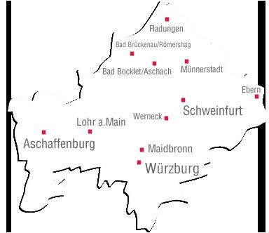 Unterfranken Karte.Bezirk Unterfranken Startseite