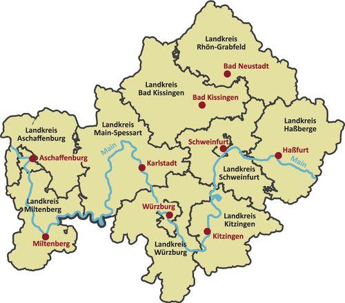 Karte Unterfranken