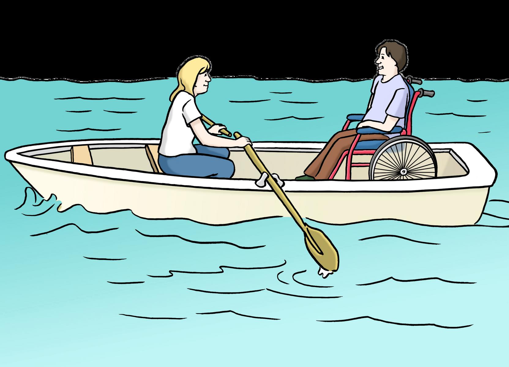 Menschen im Ruderboot
