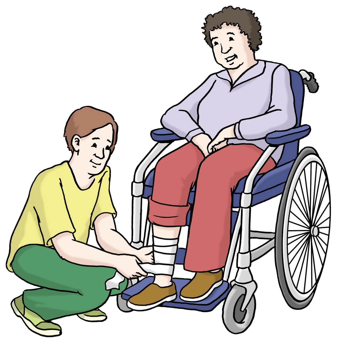 Pfleger hilft Mensch im Rollstuhl