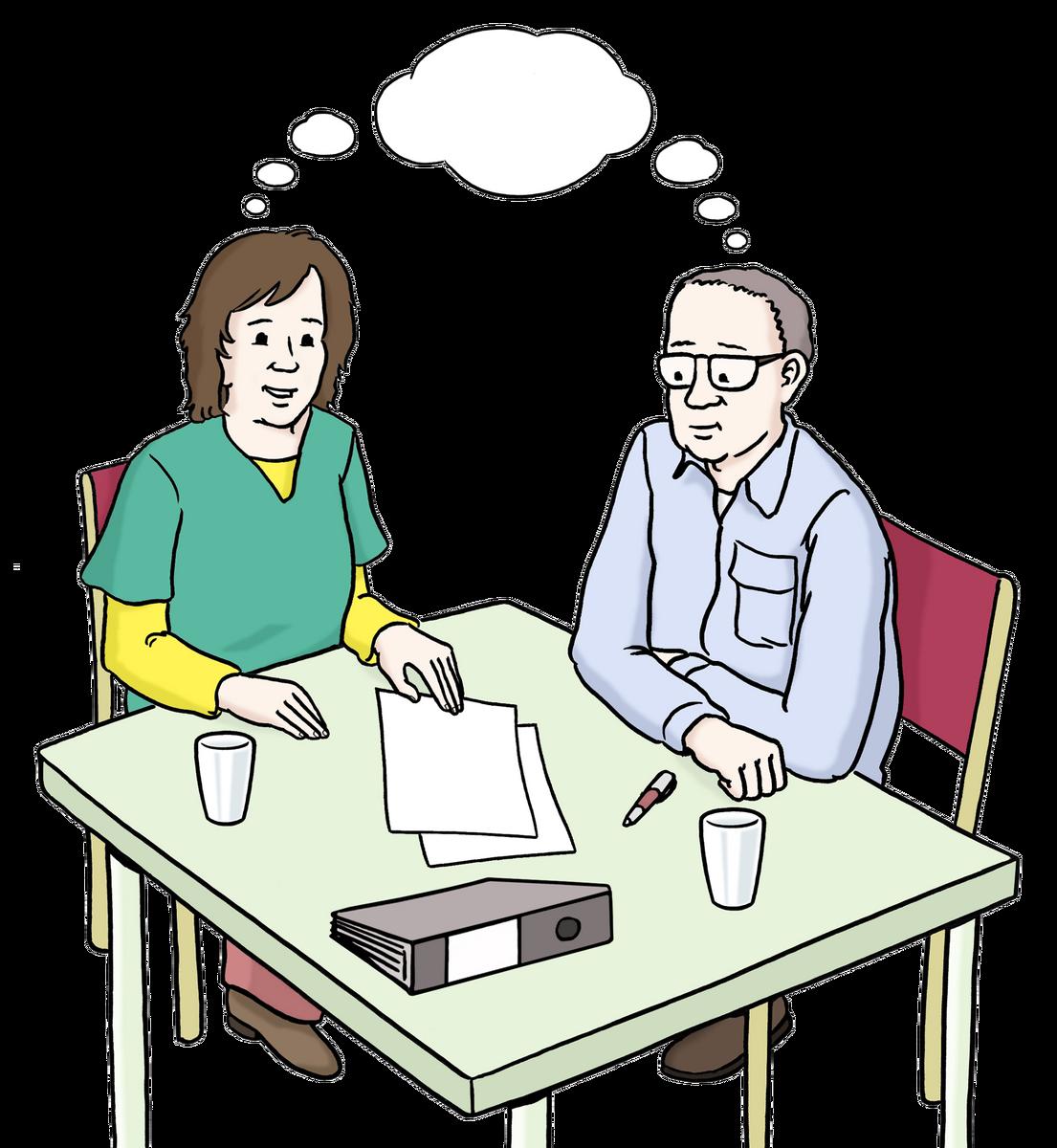 Zwei Menschen arbeiten am Schreibtisch